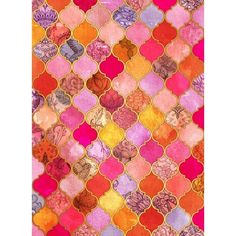 Hot Pink, Gold, Tangerine Taupe Decorative Moroccan Tile Pattern Art... ❤ liked on Polyvore featuring home, home decor, wall art, orange wall art, gold home accessories, orange home accessories, gold home decor and hot pink wall art