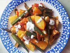 Vegan Recipe: Okra & Potato Bake with Mint Sauce
