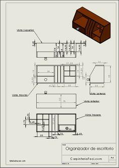 Diagrama del organizador de escritorio Woodworking Jigs, Carpentry, Woodworking Projects, Autocad, Sheet Metal Gauge, Diy Corner Shelf, Laser Cut Plywood, Easy Home Decor, Diy Organization