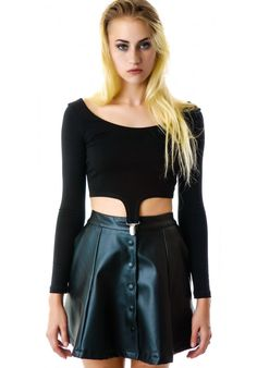 Lip Service Front Snap Faux Leather Skirt with pockets