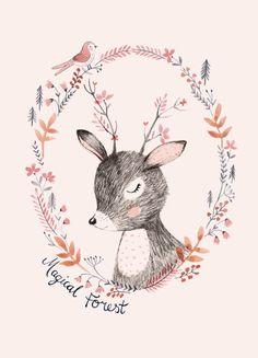 Rebecca Jones 'Ansichtkaart Magical Forest' | Petite Louise