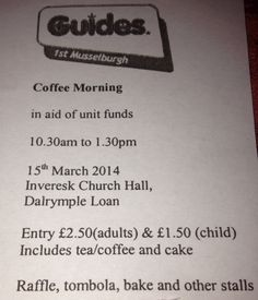 We are having a coffee morning this sat to raise unit funds
