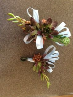 Succulent prom corsage and boutonniere.