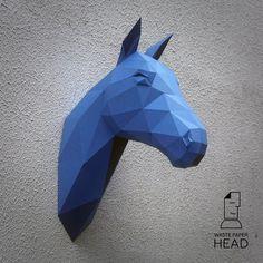 Papercraft horse head printable DIY template by WastePaperHead
