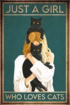 Crazy Cat Lady, Crazy Cats, Cute Cats, Funny Cats, I Love Cats, Gato Gif, Black Cat Art, Black Cats, Cat Posters