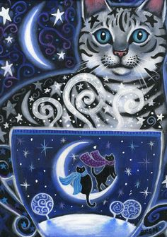 Solstice Magic - 5x7 Winter Cat Coffee Scene - Part of the Coffee Magic Series of Paintings. $15.00, via Etsy.