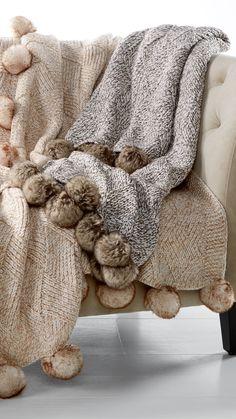 Those Martha Stewart blankets are so fabulous! Martha Stewart Collection Basketweave Marled Faux-Fur Pom Pom Throw, Created for Macy's Bedding Manta Crochet, Diy Décoration, Faux Fur Pom Pom, Cozy Blankets, Bed Throws, Cozy House, Cottage House, Martha Stewart, Basket Weaving