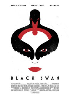 (WHITE SPACE) This graphic design uses a generous white space for emphasis of the main point, the Black Swan. Black Swan Movie, Film Black, Graphic Design Posters, Graphic Design Illustration, Graphic Design Inspiration, Minimal Movie Posters, Cinema Posters, Book Cover Design, Book Design
