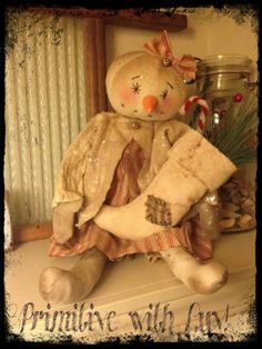 Primitive Snowman, Snowgirl Raggedy Doll, Christmas Stocking Greenery Berries