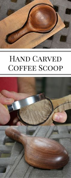Woodworking How To A great tutorial on carving your own wooden coffee scoop. This one is made out of walnut. I show you step-by-step how to make it. You'll learn about new tools and techniques for carving spoons and scoops. Awesome Woodworking Ideas, Best Woodworking Tools, Woodworking Joints, Popular Woodworking, Woodworking Projects, Woodworking Bench, Woodworking Techniques, Wood Projects, Woodworking Logo
