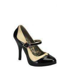 Tone Maryjane W/Concealed Platform - Black/Cream