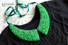 Купить Воротник - зеленый, воротник съемный, воротник, воротник из бисера, колье, бусы, camomila, подарок