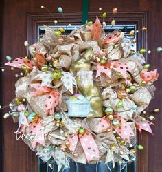 Elegant Burlap Easter Wreath with GILDED BUNNY and by decoglitz