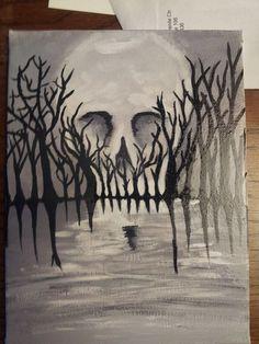 Skull in the sky❤️ Halloween Canvas Paintings, Fall Canvas Painting, Skull Painting, Halloween Painting, Autumn Painting, Halloween Art, Painting & Drawing, Canvas Art, Art Inspo