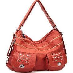 Orange Stone Washed Handbag In Stock $45