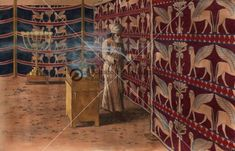 The Tabernacle (Mishkan) Interior, The High Priest Carrying Incense and Blood on Yom Kippur into Holy of Holies - Archaeology Illustrated Monte Sinai, Solomons Temple, Ancient Near East, Yom Kippur, The Tabernacle, High Priest, Bible Knowledge, Iron Age, Ancient Architecture