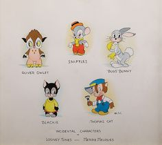 Original multi-character watercolor painting for Merchandising Book. Leon Schlesinger's Looney Tunes.    Note Bugs Bunny is only seen as a supporting character by the Studio