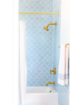 Light Blue Fishscale Shower Tiles