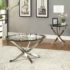 Nickel Round Tempered Glass Top Chrome Legs Cocktail Coffee Table End Table #Coaster #Contemporary