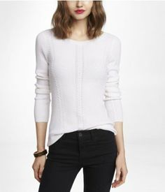 "BATEAU NECK CABLE KNIT SWEATER | Express, which is soooo long....and the lengths don't even appear to be standardized, like the ""small"" was too small but too long, the ""medium"" was too small but not too long, and the ""large"" looked horrible for so many reasons."