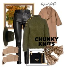 """""""Chunky Knits"""" by styledbysnb on Polyvore featuring Maison Michel, Prada, H&M, Burberry, Boutique Moschino and Chico's"""