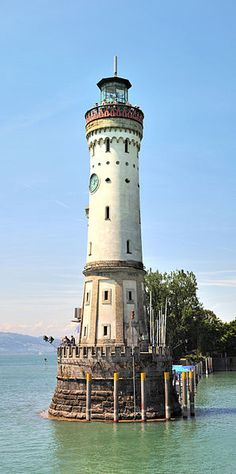 Lindau lighthouse - a lighthouse on a lake in south Germany. It was built in 1853 and is on the border with Switzerland.