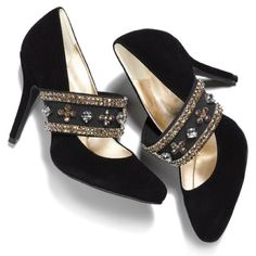 Black Heels With Jeweled Straps.