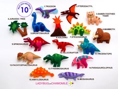 DINOSAURS Felt Magnets,  Mammoth, Saber toothed tiger, T-rex, velociraptor, Brontosaurus, Pterodactyl, Fridge magnets for kids , Baby toy