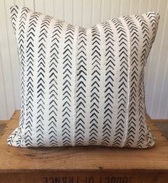 18 Inch White African Mud Cloth Pillow Cover by OneFineNest