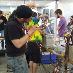 Live glass blowing demonstrations at The Hazy Hideaway in Cedar Rapids Iowa