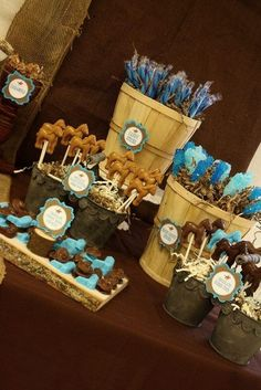 Dessert table display ideas - western cowboy baby shower