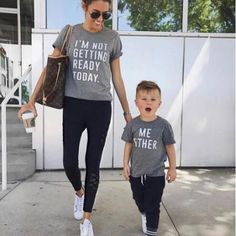 Mom & son Matching T-Shirts Family Shirts, Baby Shirts, Kids Shirts, Mom Outfits, Dress Outfits, Baby Boy Fashion, Kids Fashion, Mothers Day Breakfast, Galvan