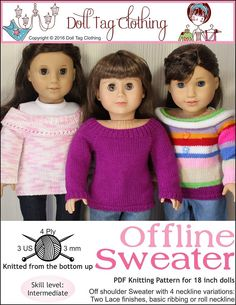 Pixie Faire Doll Tag Clothing Offline Sweater Doll Clothes Knitting Pattern for 18 inch American Gir Doll Clothes Patterns, Girl Doll Clothes, Doll Patterns, Clothing Patterns, Girl Dolls, Ag Dolls, Sweater Knitting Patterns, Crochet Sweaters, Knit Patterns