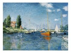 Red Boats, Argenteuil Giclee Print by Claude Monet