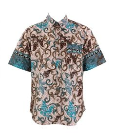 Loud Originals Regular Fit Short Sleeve Shirt - Pink, Brown & Turquoise Abstract