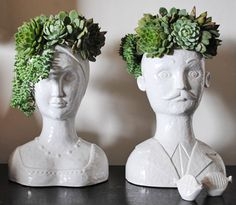 Heres another crazy head planter with more height. Go wild with these and really plan the most interesting hair to fill them with. Find it HERE