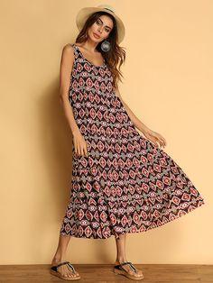 5dfea345e9fd Women Bohemian Printed Sleeveless Summer Maxi Dresses is high-quality