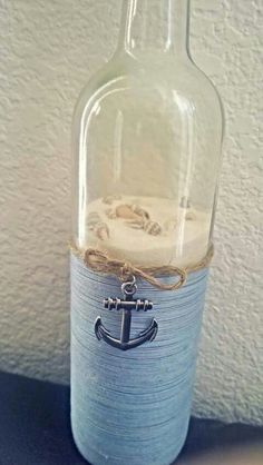 Nautical upcycled wine bottle by SmartHippie on Etsy - Diy Home Crafts Wine Bottle Corks, Glass Bottle Crafts, Bottle Bottle, Christmas Wine Bottle Craft, Bottles And Jars, Glass Bottles, Perfume Bottles, Jar Crafts, Home Crafts