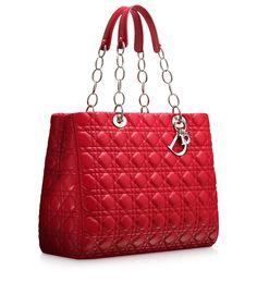 "DIOR SOFT - Large crimson red leather ""Dior Soft"" shopping bag"