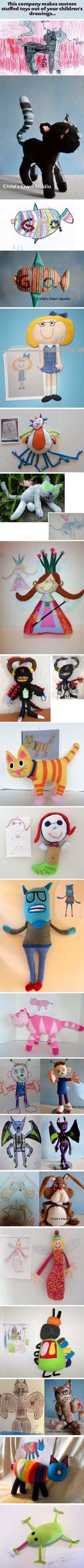 Custom stuffed toys from children's drawings. I should do this with MY drawings!!!