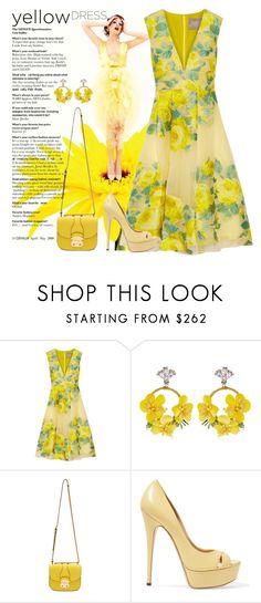 """Yellow Dress"" by lbite ❤ liked on Polyvore featuring Lela Rose, VANINA, Miu Miu, Casadei, polyvorecommunity, yellowdress and polyvoreeditorial"