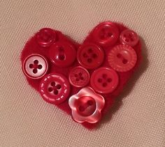 Textile Button Heart  Brooch in Red £8.00