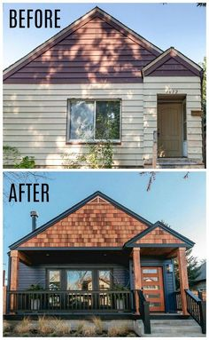 """How HGTV's Boise Boys Turned a """"Shoebox"""" Into a Modern Craftsman. Boise Boys HGTV Modern Craftsman Before and After How HGTV's """"Boise Boys"""" turned a small """"shoebox"""" of a house in the historic North End neighborhood into a Modern Craftsman. House Paint Exterior, Exterior House Colors, Exterior Design, Dark Siding House, Exterior Homes, Dark House, Home Exterior Makeover, Exterior Remodel, Exterior Home Renovations"""
