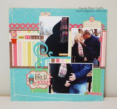 Colorful page...this one shows off pregnant belly, but could be used for other occasions.