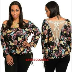 "New plus size crochet back top boho chic flower NEw BLACK FLORAL PRINT.  Crochet Lace Back elastic waist Floral print . 18"" length sleeves. 27"" total top length. Fabric :cotton and spandex,  stretchy fabric Boutique  Tops"