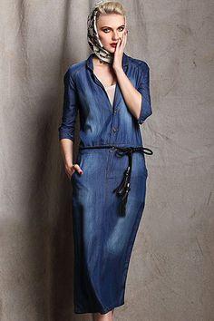 Washed denim skirt was thin denim dress with belt