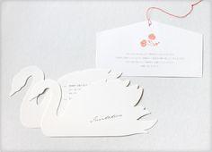 結婚式招待状   2010.7works, wedding 自分の神社での結婚式と披露宴への招待状です。2羽の白鳥型に型抜きしたカードの表裏に場所など情報を載せ、一緒に封筒に入れました。神社への招待状は絵馬型です。※現在受注は受付ておりません。  デザイン仕様を考え、白鳥の型含めデザイン 印刷印刷入稿作業・管理