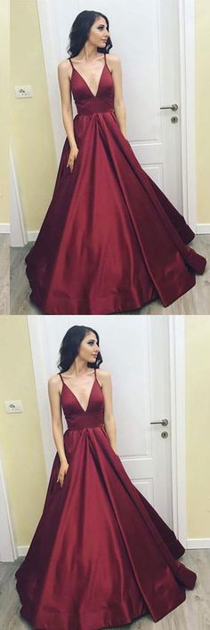 Simple V-Neck Floor-Length Satin Burgundy Prom Dress with Pockets PG485 #prom #dress #satin #pocket #simpledress #burgundy #promdress #eveningddress #satindress #2018promdress #burgundydress #vneckdress