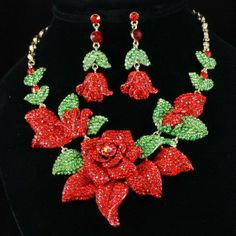New Red Crystals Rhinestone Rose Necklace Earring Set,Party jewelry set