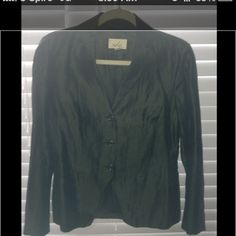 100%silk jacket JUST REDUCED HALF PRICE !!Dark greenish grey 100%silk lined dress jacket. The color changes under the lights quite unusual. It's on the longer side. Very substantial ladies dinner jacket Jackets & Coats